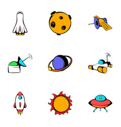 galaxy icons set cartoon style vector image vector image