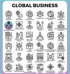 global business concept icons vector image vector image