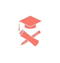 Graduate education logo graduation symbols diploma vector