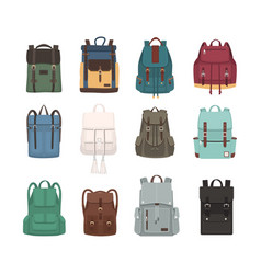 large collection of fashionable backpacks or vector image vector image