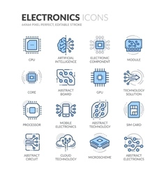 Line electronics icons vector