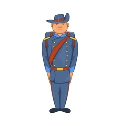 Man in a blue army uniform 19th century icon vector