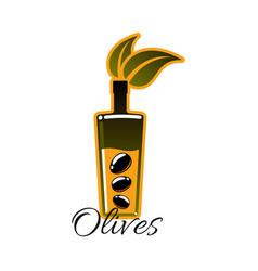 Olive oil bottle with black olives icon vector