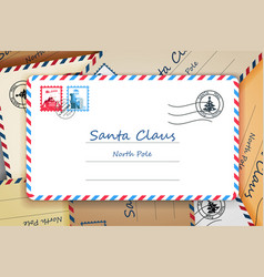 pile of santa claus christmas mailing address vector image vector image