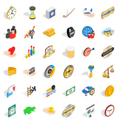 Round coin icons set isometric style vector