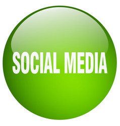 Social media green round gel isolated push button vector