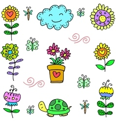 Spring colorful doodles set vector
