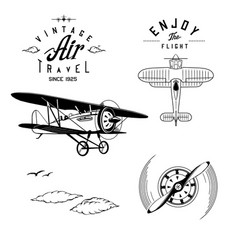 vintage aviation set vector image