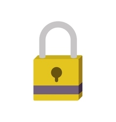 Silhouette with closed padlock yellow vector