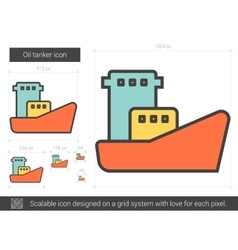 Oil tanker line icon vector