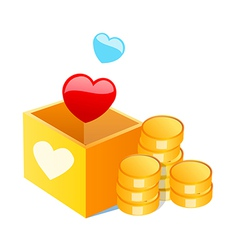 Icon cash and heart shape vector