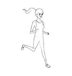 Young pretty woman jogging sport icon image vector
