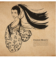 Chinese calligraphic ink beautiful woman sketch vector