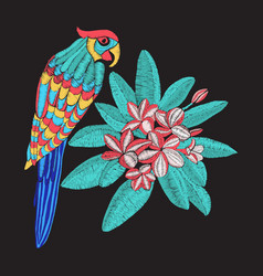 Embroidery pattern with parrot and flower vector