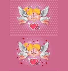 cute boy and girl cupids vector image