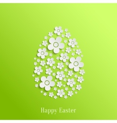 Easter egg of white flowers vector