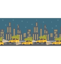New year coming green tree on yellow taxi night vector