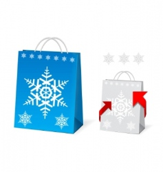 Christmas paper bag design vector image
