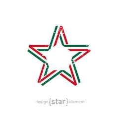 Star with mexico flag colors and grunge effect vector