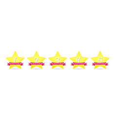 5 gold star with ribbon icon set award vector image