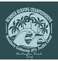 Surfers wear typography emblem huntington beach- vector