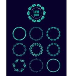 Set of logo wreaths laurels decor floral vector