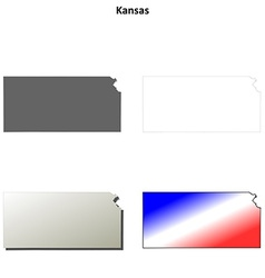 Kansas outline map set vector
