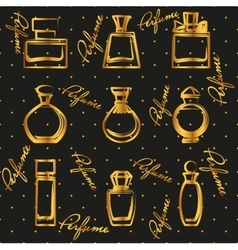 Set of different gold perfume bottles in vector