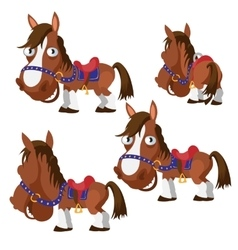 Brown horse in harness with different angles vector