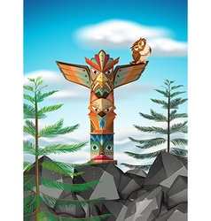 Totem pole on the cliff vector