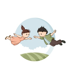 Boy and girl in flight vector image