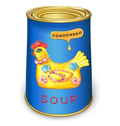 Can of condensed magic chicken soup vector