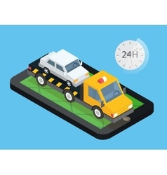 Car towing truck online roadside assistance vector