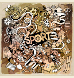 cartoon cute doodles hand drawn sport vector image vector image