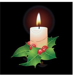 christmas candle and ho vector image vector image