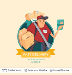 Deliveryman icon and ad text vector