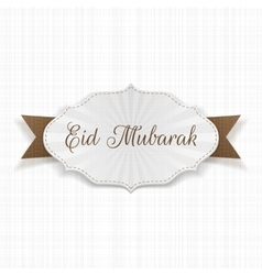 Eid mubarak festive paper label vector