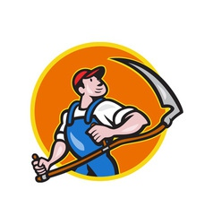 Farmer Worker Holding Scythe Circle Cartoon vector image vector image