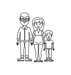 figure couple with their son icon vector image vector image