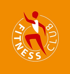 logo man running for fitness club vector image vector image