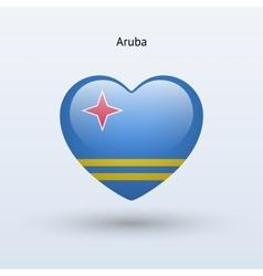 Love aruba symbol heart flag icon vector
