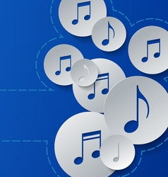 Music notes cut in paper circles on blue vector