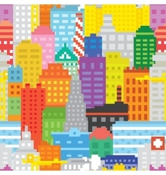 Pixel art city seamless pattern vector