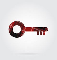 Red black tartan isolated icon - key vector