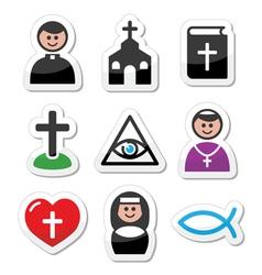 Religion catholic church icons set vector image vector image