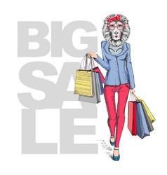 Retro hipster animal girl lion big sale hipster vector