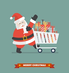 Santa claus push a shopping cart with piles of vector image vector image