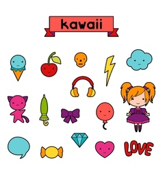 Set of decorative design elements kawaii doodles vector image vector image
