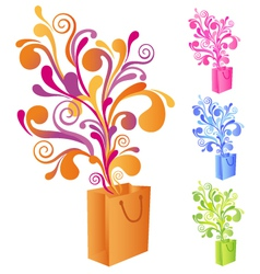 Shopping bag with swirly ornaments vector