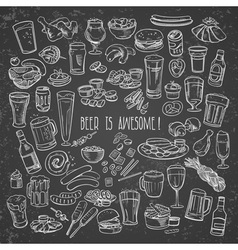 sketchy beer and snacks vector image vector image